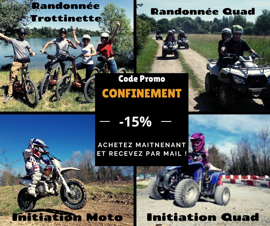 Randonnée Quad Lyon, balade en Trottinette tout terrain , découverte initiation moto cross